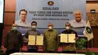 Badan Pengatur Hilir Minyak dan Gas Bumi (BPH Migas) menggelar Sosialisasi Tugas, Fungsi dan Capaian Kinerja BPH Migas Tahun Anggaran 2020 di Palembang, Sumatera Selatan, (16/10/2020).