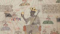 Lembar 6 dari 12. Detail menunjukkan Mansa Musa duduk di atas takhta dan memegang koin emas. (Public Domain)