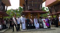 Presiden Jokowi menghadiri Perayaan Natal Oikumene Tator di Plaza Kolam Makale, Kabupaten Tana Toraja, Sulawesi Selatan. (Merdeka.com/ Intan Umbari)