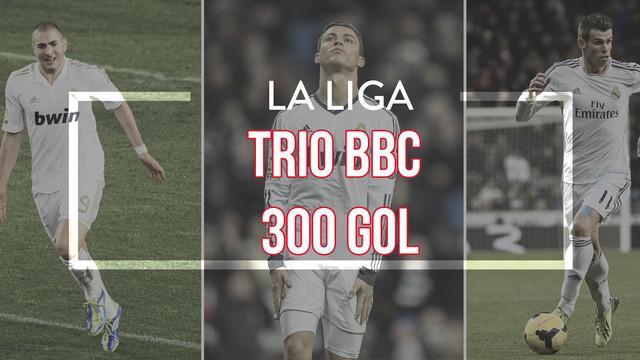 Video gol-gol indah trio BBC Real Madrid yang terdiri atas Karim Benzema, Gareth Bale dan Cristiano Ronaldo telah mencetak 300 gol di kompetisi La Liga sejak musim 2013/14.