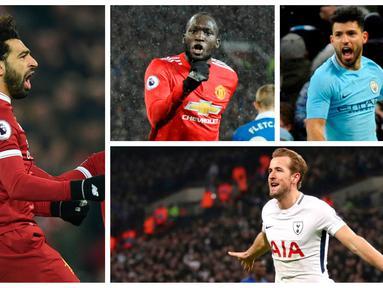 Berikut ini top scorer sementara Premier League musim 2017/2018 hingga pekan ke-24. Harry Kane kembali unggul dari Mohamed Salah dengan torehan 21 gol. (Kolase foto-foto AP dan AFP)