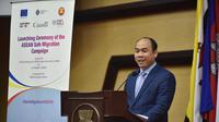 Deputy Secretary-General of ASEAN for ASEAN Socio-Cultural Community, Kung Phoak, saat mengisi acara peluncuran Safe Migration Campaign di Skretariat ASEAN, Rabu, 12/12/2018. (Sekretariat ASEAN)