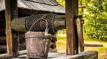 Ilustrasi sumur kayu.