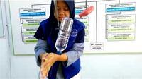 Pacitan yang tengah kekeringan dan dilanda KLB Hepatitis A, ada cara mencuci tangan darurat di daerah minim air. (Printscreen Video Kiriman Dinkes Kabupaten Pacitan)