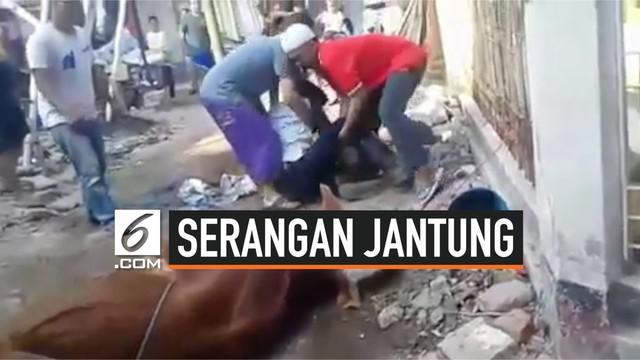 Seorang pria mendadak meninggal saat akan menyembelih hewan kurban. Ia diduga mengalami serangan jantung.