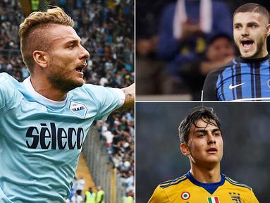 Berikut ini top scorer Serie A Italia 2017/2018 hingga pekan ke-11, Striker Lazio, Ciro Immobile berada di Puncak. (Kolase foto-foto dari AFP dan AP).