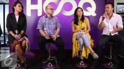 Sejumlah pemain AADC 2 saat menghadiri konferensi pers peluncuran eksklusif film AADC 2 di aplikasi HOOQ di Jakarta, Selasa (26/7). Secara resmi film AADC 2 dapat dinikmati secara eksklusif di HOOQ. (Liputan6.com/Herman Zakharia)