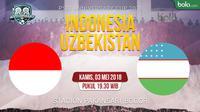 Jadwal PSSI Anniversary Cup 2018, Indonesia vs Uzbekistan. (Bola.com/Dody Iryawan)