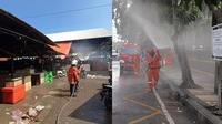 Tri Rishamarini turun langsung dalam penyemprotan desinfektan di Surabaya. (Sumber: Facebook/Bangga Surabaya)