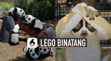Mainan lego biasanya berbentuk seperti superhero dan tokoh-tokoh kartun. tapi ada yang unik di kebun binatang ini, karena menampilkan binatang dari tumpukan ratusan mainan lego.