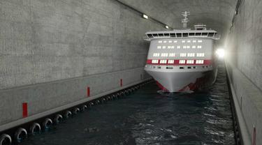 Ilustrasi terowongan kapal di Norwegia. (Doc/Norwegian Coastal Administration)