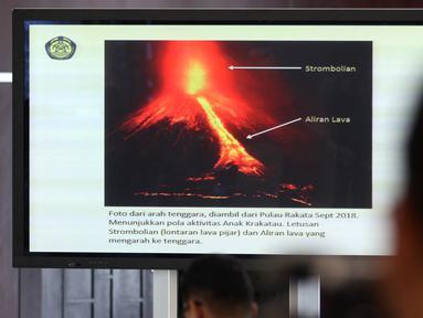Konferensi pers terkait status Gunung Anak Krakatau di Kementerian ESDM, Jakarta, Kamis (12/27). Status Gunung Anak Krakatau dinaikkan dari waspada level II menjadi siaga level III. (Liputan6.com/JohanTallo)