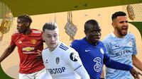 Ezgjan Alioski, N'Golo Kante, Paul Pogba dan Riyad Mahrez. (Bola.com/Dody Iryawan)