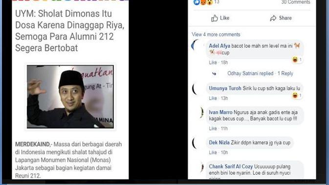[Cek Fakta] Ustaz Yusuf Mansur Menyebut Salat di Monas Reuni 212 Itu Riya, Benarkah?
