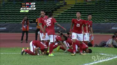 Indonesia mencetak gol kedua melaui Hargianto pada akhir babak pertama saat melawan Philippines