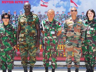 Citizen6, Lebanon: Tim SRI (Strategic Reserver Inspection) UNIFIL, terdiri dari Mayor Maxwell Aferi (Ghana), Mayor Sunil Dogra (India), Mayor Faizul Moch Latif (Malaysia) dan Kapten laut (S/W) Nani Kusmiyati, (Indonesia). (Pengirim: Badarudin Bakri)