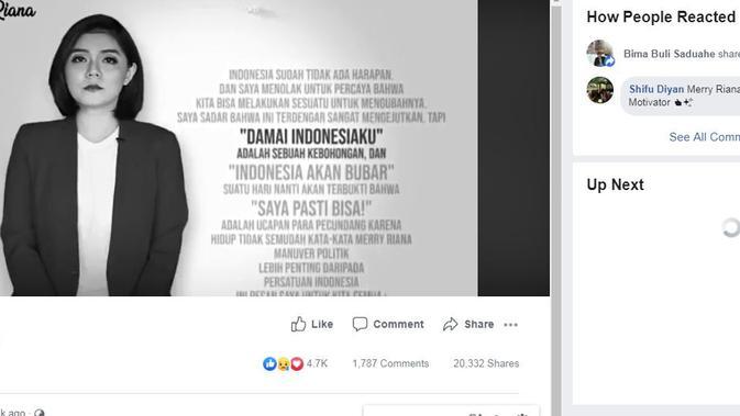 [Cek Fakta] Video Merry Riana dipotong sebagian isinya.
