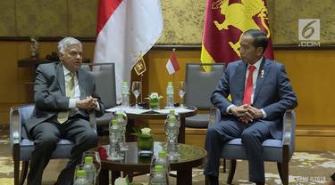 Presiden Jokowi beserta rombongn melakukan pertemuan bilateral dengan PM Sri Lanka ditengah-tengah World Economic Forum.