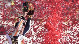 Sirkuit Sachsenring di Jerman adalah milik Marc Marquez,   hingga 2019, Marquez sudah 10 kali menjadi yang tercepat di kota Hohenstein-Ernstthal ini. (AFP/Robert Michael)