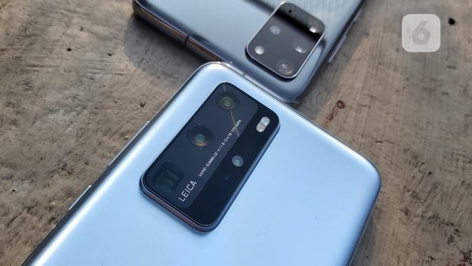 Samsung Galaxy S20 Plus Vs Huawei P40 Pro. Liputan6.com/iskandar