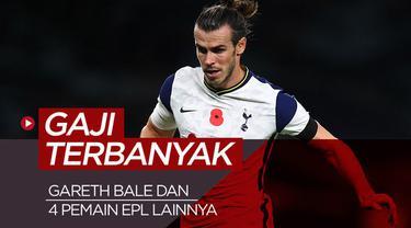 Berita motion grafis 5 pemain dengan gaji terbanyak di Liga Inggris saat ini, ada Gareth Bale.