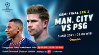Streaming Semifinal Leg Kedua Liga Champions Man City vs PSG di Vidio. (Sumber : dok. vidio.com)