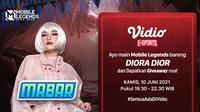 Live Streaming MABAR Mobile Legends Bersama Diora Dior di Vidio. (Sumber : dok. vidio.com)
