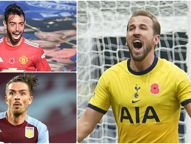 Penyerang Tottenham Hotspurs, Harry Kane, tampil gemilang di awal musim ini. Pemain berusia 27 tahun ini tercatat memiliki assist terbanyak hingga pekan ke-8 kompetisi Liga Inggris. Berikut Harry Kane dan 5 raja assist di Awal Musim Liga Inggris. (kolase foto AFP)