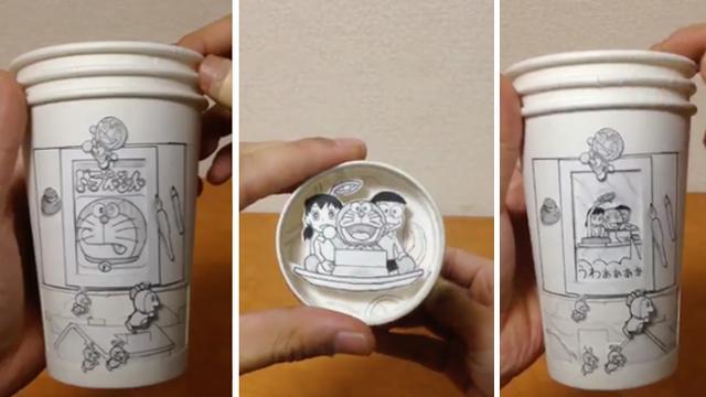 Gelas Kertas Dan Kreatifitas Hadirkan Doraemon Dan Kawan Kawan