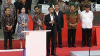 Presiden Jokowi memberikan sambutan saat peresmian hasil renovasi Istora Senayan, Jakarta, Selasa (23/1). Istora Senayan akan menjadi salah satu arena Asean Games 2018. (Liputan6.com/Angga Yuniar) (Liputan6.com/Angga Yuniar)