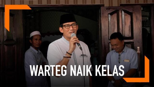 Pada kampanyenya di Tegal, Jawa Tengah, Sandiaga Uno ingin membuat warteg bisa menyaingi rumah makan Padang.