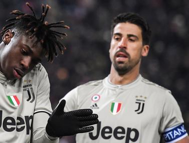 Striker Juventus, Moise Kean, merayakan gol yang dicetaknya ke gawang Bologna. (AFP/Tiziana Fabi)