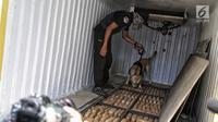 Petugas BNN dengan anjing pelacak mengendus barang bukti ganja saat konferensi pers kasus tindak pidana narkotika di Jakarta, Jumat (1/2). BNN mengungkap 3 kasus penyelundupan narkotika dari Aceh, Medan dan Bogor. (Liputan6.com/Faizal Fanani)