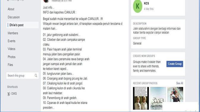 [Cek Fakta] Hoaks Kabar Wilayah Cianjur Saat Ini Rawan Begal