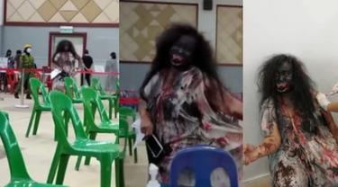 Viral Wanita Dandan Bak Kuntilanak saat Divaksin, Aksinya Disambut Tepuk Tangan Nakes