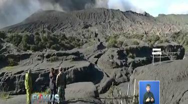 Meski Bromo sedang erupsi, namun aktivitas wisata di sekitar lautan pasir yang berjarak kurang lebih 2 kilometer dari kawah gunung masih terlihat normal.