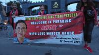 Dukungan emak-emak di hari kebebasan Ahok (Liputan6.com/Ady Anugrahadi)