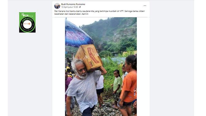 Cek Fakta Liputan6.com menelusuri klaim foto Xanana Gusmao membantu korban bencana NTT