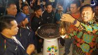 Api Asian Games 2018 saat tiba di rumah pesanggrahan Bung Karno, Parapat, Kabupaten Simalungun. (Liputan6.com/Reza Efendi)