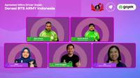 ARMY Indonesia serahkan donasi secara simbolis pada mitra driver Gojek. (dok. tangkapan layar Zoom)