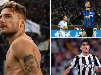 Berikut ini klasemen top scorer Serie A Italia musim 2017/2018 hingga pekan ke-13, Mauro Icardi tempet ketat Ciro Immobile. (Kolase foto-foto dari AFP)