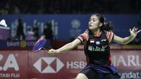 Gregoria Mariska Tunjung takluk dari Ratchanok Intanon di babak kedua pada Indonesia Open 2019 di Istora Senayan, Jakarta, Kamis (18/7/2019). (Bola.com/Peksi Cahyo)