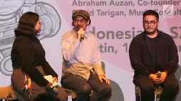 Music Consultant Hello Dangdut, David Tarigan memberi keterangan pers menjelang Festival SXSW 2019 yang akan digelar di Amerika Serikat, di Jakarta, Selasa (26/2). Bekraf akan mengirimkan 19 pelaku industri. (Liputan6.com/Fery Pradolo)