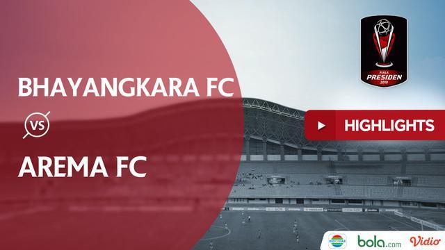 Berita video highlights Piala Presiden 2019 babak perempat final antara Bhayangkara FC menghadapi Arema FC yang berakhir dengan skor 0-4, Sabtu (30/3/2019).