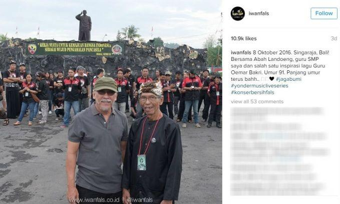 Melalui akun Instagram, Iwan Fals membongkar sosok Umar Bakri yang menginspirasi lagunya. Foto: Istimewa