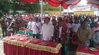 Ormas Laskar Merah Putih Jakarta Barat bersama warga Kebon Mede mendeklarasikan dukungan untuk Jokowi-Ma'ruf Amin. (Merdeka.com)