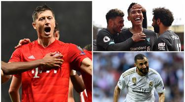 Berikut ini 10 bomber haus gol di Liga Champions musim 2019/2020. (Kolase Foto dari AFP)