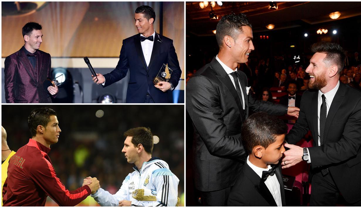 Dua superstar Cristiano Ronaldo dan Lionel Messi tidak melulu menjadi lawan dan bersaing menjadi pesepak bola terbaik di dunia. Berikut ini momen-momen kedekatan Cristiano Ronaldo dan Lionel Messi yang pernah diabadikan lensa kamera.