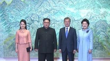 Setibanya di Panmunjom pukul 06:15 waktu setempat, Ri Sol-ju langsung menuju Peace House di sisi selatan desa (Yonhap News)