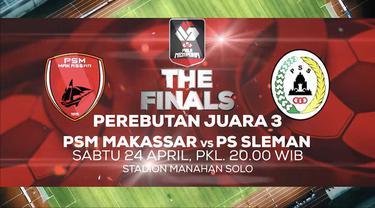 Berita video jangan lewatkan laga perebutan peringkat 3 Piala Menpora 2021 antara PSM Makassar melawan PSS yang disiarkan hanya di Indosiar dan Vidio pada Sabtu (24/4/2021) malam hari WIB.